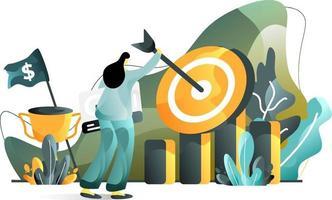 Ziel Business Flat Illustration Konzept von Frauen Marketing Verkaufsziele, perfekt für Landing Pages, Vorlagen, UI, Web, mobile App, Poster, Banner, Flyer. Vektor