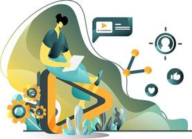 Video-Marketing-Flat-Illustration-Konzept von Männern, die Video-Anzeigen auf Tablets erstellen, perfekt für Zielseiten, Vorlagen, Benutzeroberfläche, Web, mobile App, Poster, Banner, Flyer. Vektor