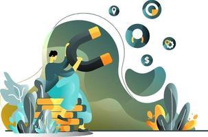 locken Marketing flach Illustration Konzept von Männern anziehen Verbraucher mit Magneten, perfekt für Landing Pages, Vorlagen, UI, Web, mobile App, Poster, Banner, Flyer. Vektor