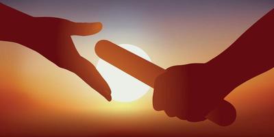 två händer passerar reläet vektor