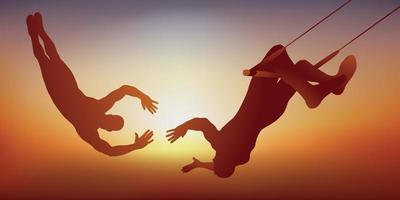Zwei Trapezkünstler symbolisieren die Partnerschaft vektor