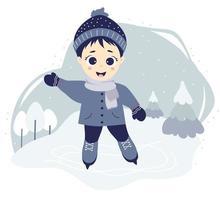 en söt pojke utomhus under vintern vektor