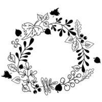 Herbstlaub und Beerenkranz vektor