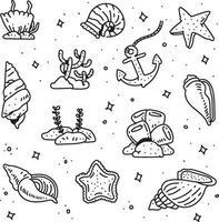 Korallen Gekritzel Stil. Korallen-Zeichenstil vektor