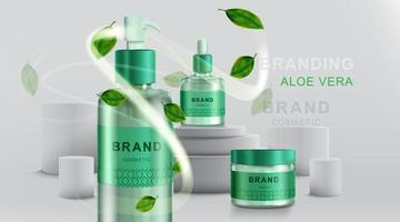 Kosmetik- oder Hautpflegeprodukte. Flaschenmodell und Aloe Vera mit geometrischem Hintergrund. Vektorillustration. vektor