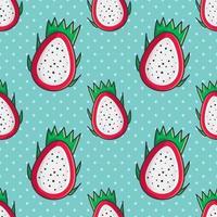 nahtlose Musterillustration der Drachenfruchtscheibe vektor