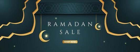 ramadan-försäljning, webbhuvud och bannerdesign med halvmåne och islamiskt mönster. vektor