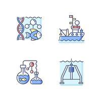 marina utforskning rgb färgikoner set vektor