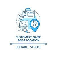 blaues Konzeptsymbol für Alter, Name und Standort des Kunden vektor