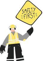Sicherheit erstes Plakat mit Industriearbeiter vektor