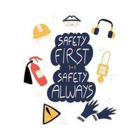 Sicherheit zuerst Sicherheit immer handgeschriebene Phrase mit ppe und Sicherheitswerkzeugen vektor