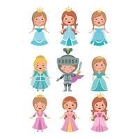Satz geschnittene kleine Prinzessin Puppe und Ritter auf weißem Hintergrund. vektor