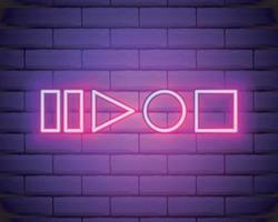 Neonspieler-Knopfzeichenvektor lokalisiert auf Backsteinmauer. Wiedergabe, Stopp, Pause Taste Lichtsymbol vektor