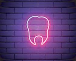 Zahn, Zahnvektorikone. Neonvektorikone des Retro-Stils. Vektorikone auf Backsteinmauerhintergrund vektor