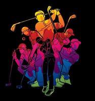 grupp golfspelare vektor