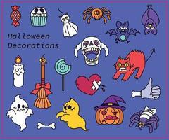 Sammlung von niedlichen Halloween-Charakteren. Hand gezeichnete Art Vektor-Design-Illustrationen. vektor