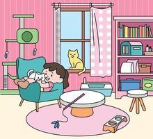 Ein Mädchen sitzt mit einer Katze in ihrem niedlichen Zimmer. Hand gezeichnete Art Vektor-Design-Illustrationen. vektor