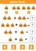 Zusatz für Kinder mit gruseligen Halloween-Kürbissen. vektor