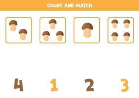 Boletus zählen und mit den richtigen Antworten abgleichen. vektor