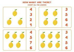 alle Zitronen zählen. pädagogisches Mathe-Spiel für Kinder. vektor