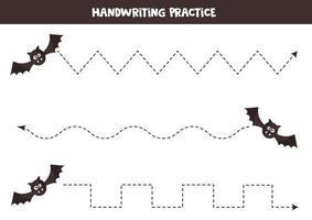 Linien mit niedlichen Cartoon Fledermaus verfolgen. Halloween-Spiele. vektor