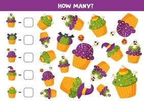 Mathe-Spiel mit gruseligen Halloween-Muffins. vektor