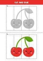 Spiel mit süßer Kawaii-Kirsche schneiden und kleben. vektor