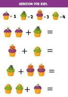 zusätzlich mit lustigen Halloween Cupcakes. Mathe-Spiele. vektor