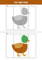 Spiel zum Schneiden und Kleben für Kinder. süße Cartoon-Ente. vektor