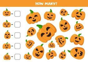 Zählen Sie Halloween-Kürbisse und schreiben Sie die Antworten auf. vektor