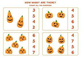 Halloween Jack o Laterne Kürbis zählen. Mathe-Spiel. vektor