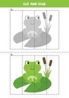 Spiel zum Schneiden und Kleben für Kinder. süßer grüner Frosch der Karikatur. vektor