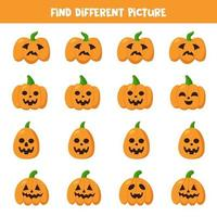 Finden Sie Halloween-Kürbis, der sich von anderen unterscheidet. vektor