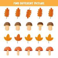finde verschiedene Pilze und Blätter in jeder Reihe, vektor