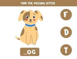 Finde den fehlenden Brief und schreibe ihn auf. niedlicher Cartoonhund. vektor
