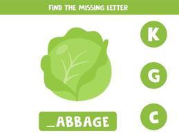 Finde den fehlenden Brief und schreibe ihn auf. süßer Karikaturkohl. vektor