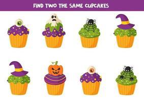 Finden Sie zwei gleiche Halloween-Muffin-Leckereien. vektor