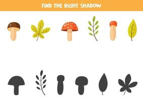 Finden Sie den richtigen Schatten von Herbstblättern und Pilzen. vektor