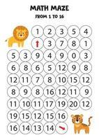 Mathe-Spiel mit niedlichen Löwen und Tiger. vektor