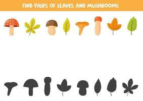 passendes Paarspiel mit Herbstlaub und Pilzen. vektor