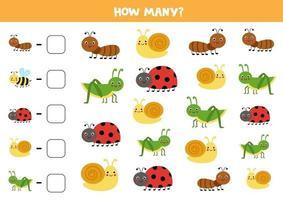 Zählspiel mit niedlichen Insekten. Mathe-Arbeitsblatt. vektor