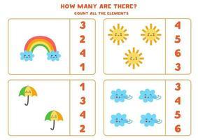 Zählspiel mit niedlichem Regenbogen, Sonne, Regenschirm, Wind. Mathe-Arbeitsblatt. vektor