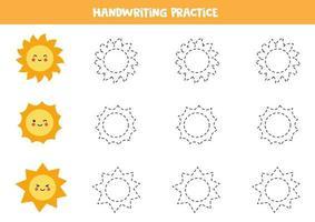 Verfolge die Linien mit niedlichen Sonnen. Schreiberfahrung. vektor
