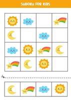 Sudoku-Spiel für Kinder mit niedlichen Wetterereignissen. vektor