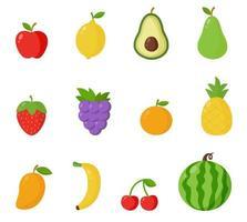 samling av tecknade vektor sommarfrukter isolerad på vit bakgrund.
