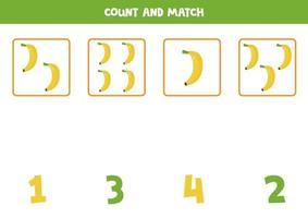 Zählspiel für Kinder. Mathe-Spiel mit Cartoon-Bananen. vektor