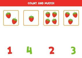 Zähle süße Cartoon-Erdbeeren und stimme mit Zahlen überein. vektor