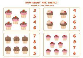 Mathe-Spiel mit Cupcakes. Zähle und kreise die richtige Antwort ein. vektor