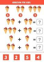 Zugabe mit Cartoon-Eis. Mathe-Spiel für Kinder. vektor