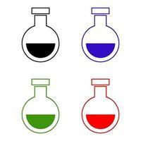 Laborkolbenikone auf weißem Hintergrund vektor